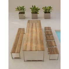 Recycled Teak Outdoor Dining Table - Outdoor Tables - chicago - by Home Infatuation Outdoor Dinning Table, Furniture Dining Table, Teak Table, Teak Furniture, Patio Table, Furniture Decor, Dining Stools, Patio Bench, Outdoor Furniture