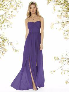 Off the shoulder violet bridesmaid dress