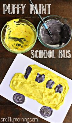 Fun Puffy Paint School Bus Craft for Kids. This is a great craft idea for parents and teachers to do with kids for the first day of school using homemade puffy paint by mixing equal parts Elmer's School Glue with shaving cream. School Bus Crafts, Daycare Crafts, School Art Projects, Classroom Crafts, School Fun, Toddler Crafts, Art School, Group Projects, School Days