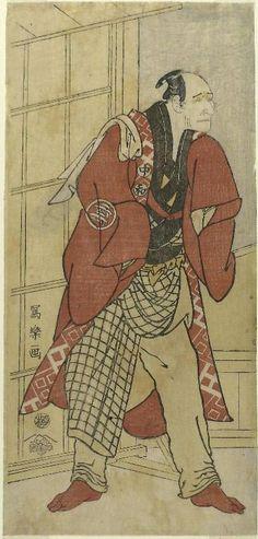 """Nakajima Wadaemon."" Block print by Toshusai Sharaku showing kabuki character. Japanese, 1794. Art Institute of Chicago."