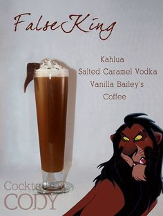 Cocktails by Cody - 29 Disney inspired drinks! A shot of Kahlua, shot of salted caramel vodka, shot of vanilla Bailey's mixed with three of some strong coffee. Garnish with some whipped cream and chocolate shavings. Disney Cocktails, Cocktail Disney, Disney Alcoholic Drinks, Disney Mixed Drinks, Disney Themed Drinks, Disney Dinner, Alcoholic Shots, Alcoholic Desserts, Party Drinks