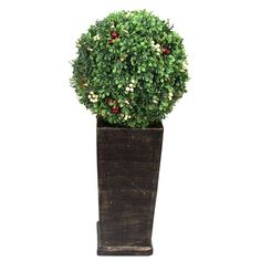 3.16 ft. Pre-Lit LED Boxwood Artificial Christmas Tree Topiary with 35 Battery-Operated Warm-White, Greens
