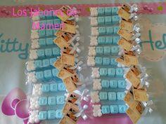 Paquetes con el nombre en jabon. Bautizo Teo. Palencia