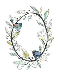 Bird Art 5x7 or 8x10 Print Bird Wreath Digital by sarahogren