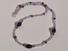 Amethyst Beaded Necklace In Sterling Silver by BlueBreezeJewelry, $34.99