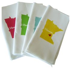 One Kings Lane - A Splash of Color - S/4 I Love Minnesota Napkins