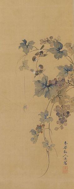 Japanese Fine Art Wall Hanging Painting Antique Sparrows in Grapes Hanging Scroll Kakejiku Japanese Painting, Chinese Painting, Chinese Art, Art Chinois, Art Japonais, Art Graphique, Japanese Prints, Japan Art, Ink Painting