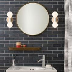 Love the tile, the lights, the mirror. Schoolhouse Electric via Design Sponge Schoolhouse Electric, Striped Shower Curtains, Bathroom Kids, Brown Bathroom, Small Bathroom Showers, Small Bathroom Designs, Bathroom Plans, Bathroom Images, Attic Bathroom