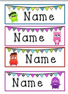 Monster & Bunting Desk Name Tags- Class Dojo