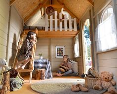Casas de niños Interior of wooden children's house with TIROL terrace, with bunk bed with ladder and Backyard Fort, Backyard Playground, Backyard For Kids, Playhouse Interior, Backyard Playhouse, Kids Cubby Houses, Play Houses, Kids Shed, Tree House Interior
