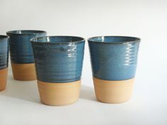 Mug without a handle, modern pottery cup with no handle, blue ceramic coffee cup or large tumbler, Forest series. $25.00, via Etsy.