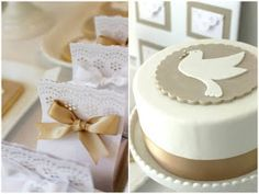 Lembrancinha e bolo para batizado