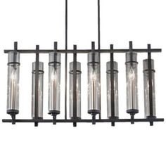 Modern Chandelier with Clear Glass in Antique Forged Iron / Brushed Steel Finish at Destination Lighting Mini Chandelier, Modern Chandelier, Chandelier Lighting, Interior Lighting, Modern Lighting, Lighting Ideas, Vintage String Lights, Classic Lanterns, Modern Fan