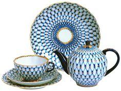 Russian Porcelain // Lomonosov Tea Cup with Saucer