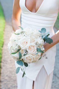 Classic wedding bouquet, large white roses // Maria Villano Photography