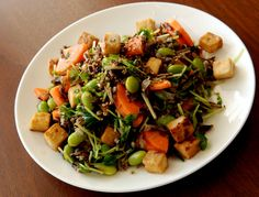 Wild Rice and Edamame Salad with Lemon-Miso Dressing  (this version - has tofu (yay) no chick peas and a few other variations)