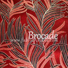 Tissu feuille rouge. Vendu par 50cm. SBR100012 : Tissus Ameublement par fabricasians