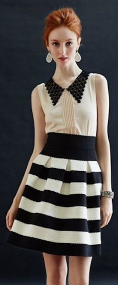 #black and #white striped skirt http://rstyle.me/n/hytdsr9te