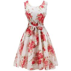 Retro Belted High Waisted Flowers Dress (30 BAM) ❤ liked on Polyvore featuring dresses, rosegal, belted dress, blossom dress, flower dress, retro dresses and retro-inspired dresses