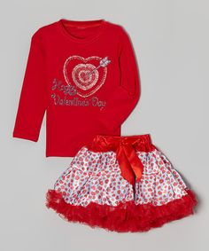 This Red 'Happy Valentine's Day' Tee & Pettiskirt - Toddler & Girls by So Girly & Twirly is perfect! #zulilyfinds