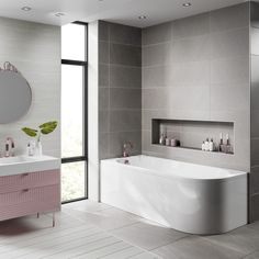 Say hello 👋🏼 to the Jasmine corner bath! This stunning contemporary bath fits perfectly into corner spaces and looks totally mesmerising whilst doing so. Contemporary Baths, Modern Baths, Bathroom Trends, Bathroom Sets, Bad Inspiration, Bathroom Inspiration, Simple Bathroom, Modern Bathroom, Back To Wall Bath