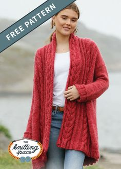Winter Cardinal Knitted Cardigan [FREE Knitting Pattern] - Create this effortlessly chic knitted cable cardigan to complete your daily winter wardrobe. Ladies Cardigan Knitting Patterns, Winter Knitting Patterns, Free Knitting Patterns For Women, Knit Cardigan Pattern, Easy Knitting, Crochet Cardigan, Cable Cardigan, Knitting Daily, Cable Knitting