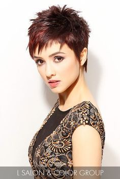 For an eye-catching short cut, varying textures are emphasized by a multifaceted cherry · Edgy HaircutsShort Pixie ...