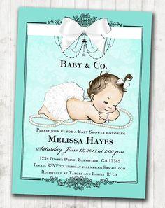 Vintagebabyshowerinvitationforgirlbabybathbyjjmcbean tiffanys themed baby shower invitations made to order with custom details and diy printable filmwisefo