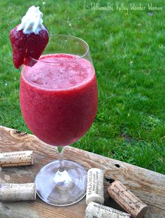 Strawbery Reisling - Pour 4oz of Riesling and 1/2 cup frozen strawberries into a blender, and instant wine smoothie.