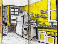 Cuisine, intérieur d'un appartement à Montréal, Canada - Dessin L'Oeil d'Édouard © tous droits réservés