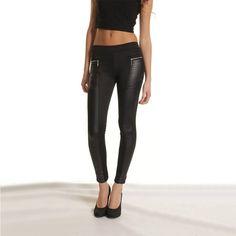 Women's Faux Leather Patchwork Leggings (Black) Sizes S-XXL solemate-mt.com #solemateMT #sexy #leggings #vegan #fauxleather #patchwork #style #fashion #hot
