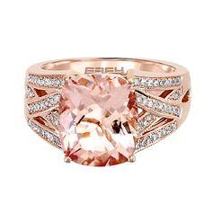 EFFY® Morganite & 1/3 ct. tw. Diamond Ring in 14K Rose Gold