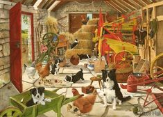 hens and collies in byre painting by tracy hall