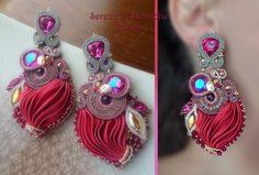 Earrings - Design by Serena Di Mercione - Beadembroidery and Soutache - Shibori silk, Swarovski.
