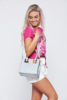 Comanda online, Geanta dama casual gri cu accesoriu metalic. Articole masurate, calitate garantata! Shoulder Bag, Pretty, Casual, Summer, Bags, Fashion, Handbags, Moda, Summer Time