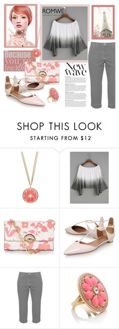 """""""Romwe Ombre Top"""" by samketina ❤ liked on Polyvore featuring Anja, Kate Spade, New Look, Aquazzura and KJ Brand"""