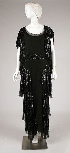 House of Worth, Sequined Black Silk Evening Ensemble. Paris, 1930s.