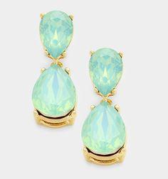 Elegant Mint Or Light Pink Double Glass Crystal Teardrop Earrings #Unbranded #DropDangle