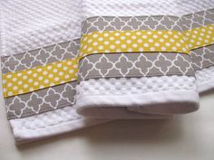 Set of 2 Towels kitchen towels grey and yellow yellow by AugustAve