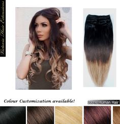 Clip In OMBRE Remy Human Hair Extensions Full Head