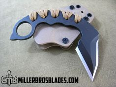 Custom karambit with double edge blade. Miller Bros. Blades handmade knives, swords & tomahawks