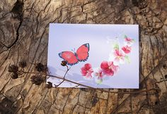 Postcards by Aik #postcards #mailart #mail #butterfly #red #flowers #forest #mariposa #postales