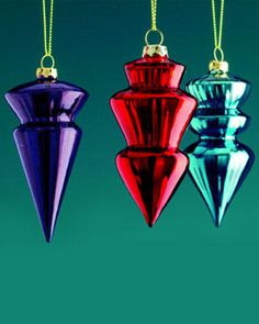 Jewel tone Christmas. Love the traditional shape of these ornaments.