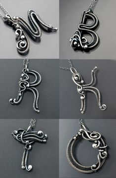 "Pendants | Sarah Thompson. From her ""Monogram Initials"" series.  Fine silver wire, sterling silver beads, sterling silver chain - Love them!"