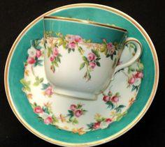 Antique Copeland Spode HAND APPLIED ELITE Tea cup and saucer $295:
