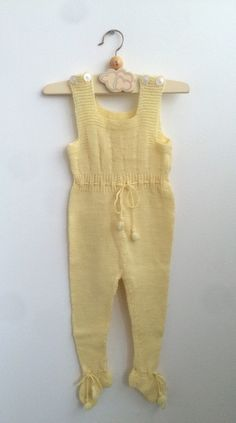 Pastel Yellow Vintage Knitted Baby Romper, Scandinavian 50s Retro Footie with Buttons and Cute Pom Poms 6-12 months by ElleBelleVin on Etsy
