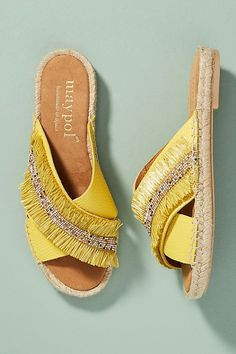Slide View: 2: Maypol Fringed Espadrille Slide Sandals