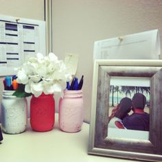 Painted vintage mason jars in pretty pinks. Cubicle decor by Kelly Keith :)