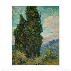 Cypresses by Vincent Van Gogh, oil on canvas 1889