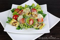 Salad of tomato, cucumber lettuce and zucchini